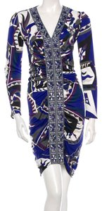 Emilio Pucci Blue Black Print Logo Dress