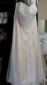 David's Bridal Cream/Ivory Chiffon & Imported Polyester Strapless A Line Beaded Lace Tulle Gown Style 9wg358 Modern Wedding Dress Size 26 (Plus 3x)