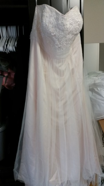 Item - Cream/Ivory Chiffon & Imported Polyester Strapless A Line Beaded Lace Tulle Gown Style 9wg358 Modern Wedding Dress Size 26 (Plus 3x)