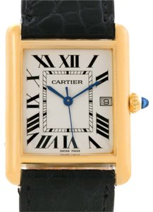 Cartier Cartier Tank Louis Large 18k Yellow Gold Brown Strap Watch W1529756