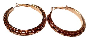 New Rose Gold Tone 2 in. Hoop Earrings Thick Big J1682
