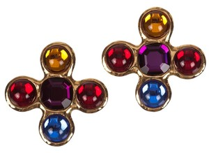 Saint Laurent YSL Maltese Cross Lucite Jelly Belly Earrings