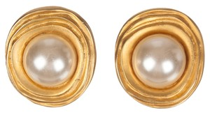 Saint Laurent YSL Modernist Inspired South Sea Pearl Cabochon Earrings