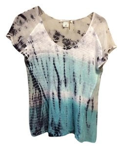 Red Haute Silk T Shirt Navy Turquoise White Tie Dye