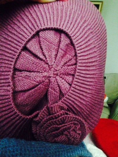 Dots Rose Colored Knit Hat