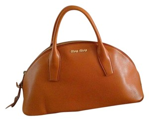 Miu Miu Leather Miu Designer Tote in Orange