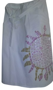 Lilly Pulitzer Sequin Side Pockets Wrap Skirt White with pink opalesque sequins