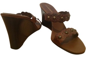 Matisse Leather Studs Boho Summer Spring Wedge Heels Brown Sandals
