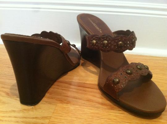 Matisse Leather Studs Boho Wedge Brown Sandals