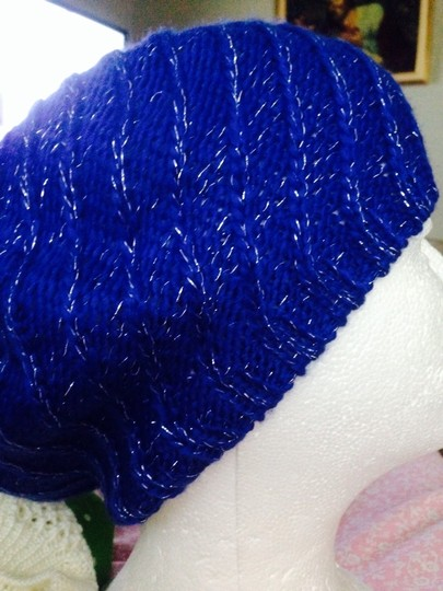 Dots Blue With Sparkles Knit Hat
