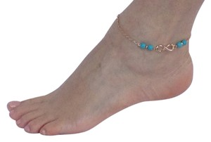 Infinity anklets, turquoise color beads.