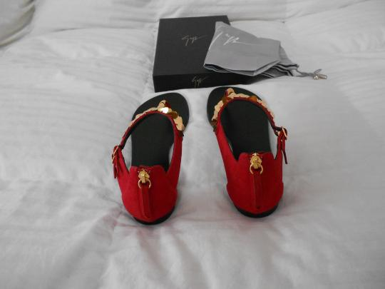 Giuseppe Zanotti Sophisticated Dramatic Made In Italy Red Sandals