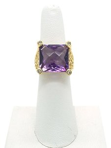 Other 10CT Amethyst with Diamonds 18k Solid Yellow Gold Ring, Size 6