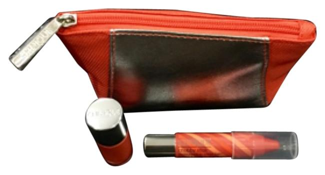 Item - Orange/Silver With Nail Enamel and Chubby Stick Moisturizing Lip Colour Balm Cosmetic Bag