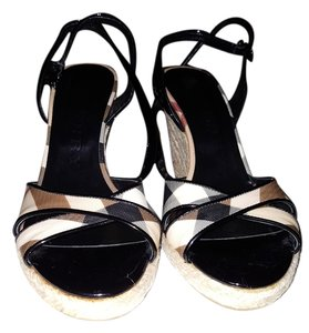 Burberry Strappy Wedge Black patent leather with Burberry plaid trim Wedges