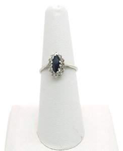 0.50CT Blue Sapphire with Diamonds 14k Solid White Gold Ring, Size 6.5