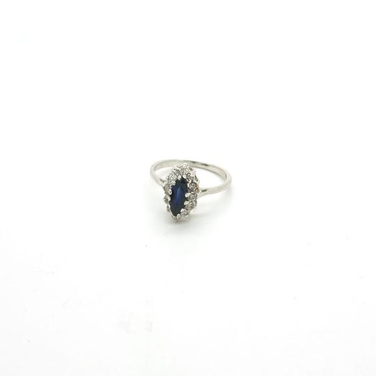 Other 0.50CT Blue Sapphire with Diamonds 14k Solid White Gold Ring, Size 6.5