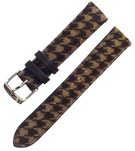 Michele Authentic MICHELE 18mm Brown Checkered Pony Hair Leather Watch Band