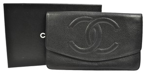 Chanel Auth CHANEL Bifold Wallet Purse Caviar Skin Leather Black Italy Vintage clutch bag