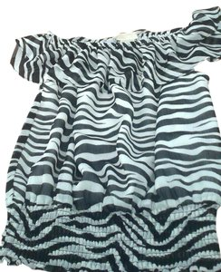 Michael Kors Zebra Ruffle Top black and white