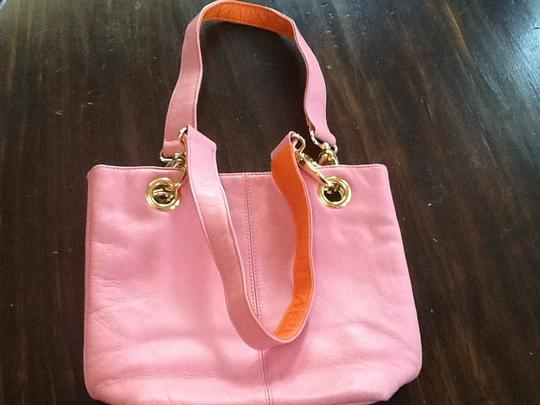 GANI Flirty And Fun Top Handle Small Satchel Sumptuous Leather Accented Handles Soft Leather Gold Hardware For A Hip Look Tote in Pink with Orange