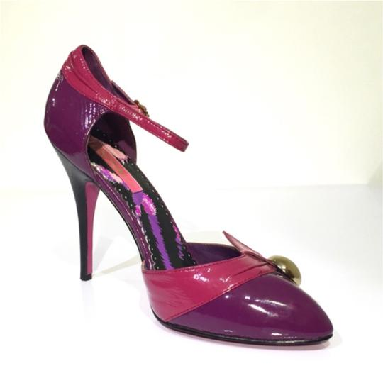 Betsey Johnson Patent Leather Ankle Strap Hardware Purple Pink Gold Pumps