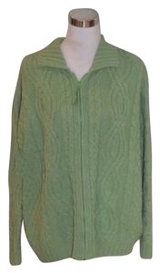 Arancrafts Cabled Knit Cardigan Lime Full Zip Zip Front Sweater