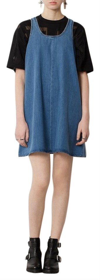 a351518311 Topshop Blue Moto Denim Trapeze Mini Short Casual Dress Size 2 (XS ...