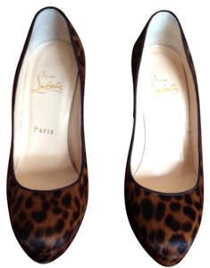 Christian Louboutin Pony Hair High Heels Brand New Red Sole Holiday Leopard Print - Brown & Black Platforms