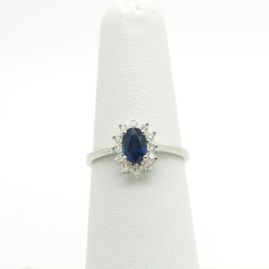 Other Oval Shaped O.30Ct Blue Sapphire with Diamonds 18k White Gold Ring