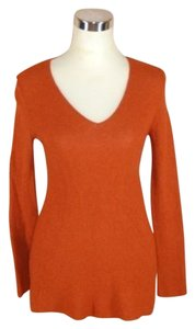 Eileen Fisher Angora Cashmere V-neck Long Sleeve Xs Rust Sweater