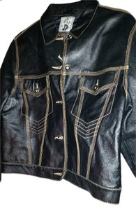 Jean-Paul Gaultier made in France Jean Paul Black w/beige stitching Leather Jacket