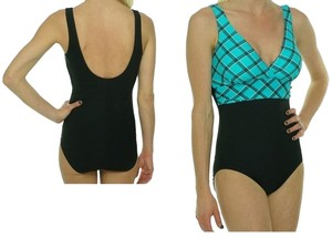 Tropical Honey Tropical Honey Sliming Black/Aqua print Swim Suit-sz10