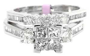 Jewelry Unlimited White Gold Princess Cut Diamond Bridal Wedding Band Engagement Ring Set 1.0 Ct