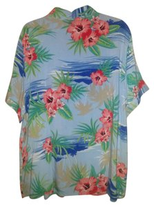 Other Rayon Camp Shirt Flower Print Top Blue