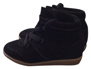 Isabel Marant Wedge Snakers Calfskin Fashion Sneakers Wedge Black Athletic