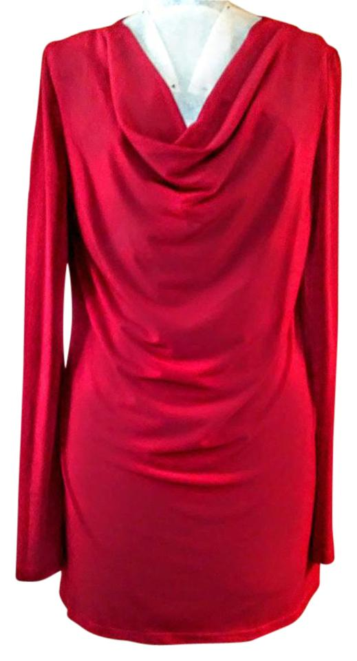 Shape FX Dark Red Cowl Neck Bell Sleeve Tunic Size 14 (L) - Tradesy afddb371c