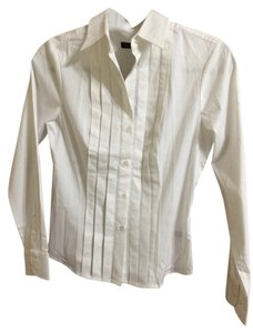 The Limited Button Pleated Button Down Shirt White