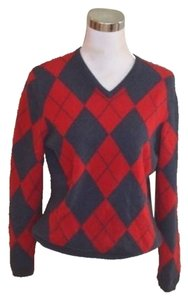 Johnstons Cashmere V-neck Argyle Gray Red Long Sleeve Sweater