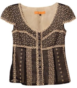 Cynthia Steffe Neiman Marcus Embroidered Overlay Top Black & Ivory