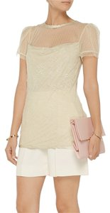 Valentino Lace Jersey Top Light Green