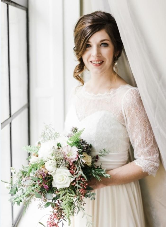 Ivory Lace and Almond Chiffon Chorded French Draped Over Silk ...