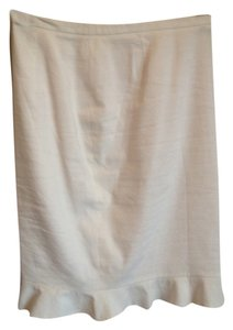 Elie Tahari Nwot Linen Pencil Ruffle Skirt white