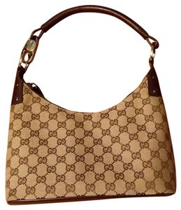 Gucci Monogram Classic Silver Hardware Satchel in Beige/brown
