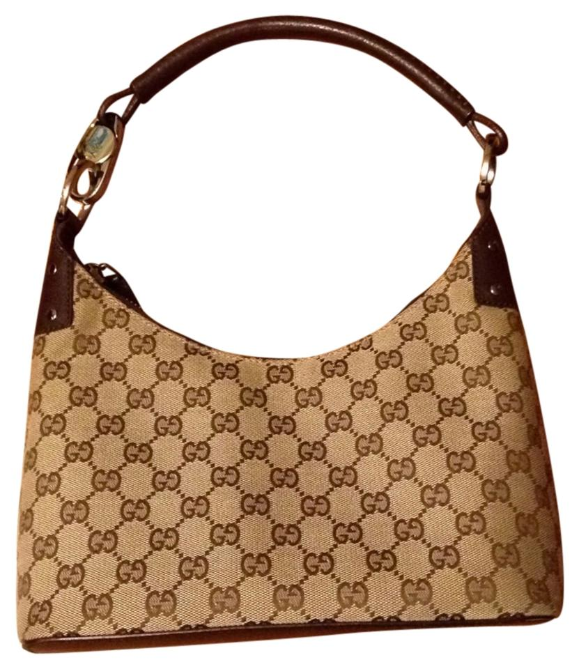 Gucci Monogram Classic Silver Hardware Satchel In Beige Brown