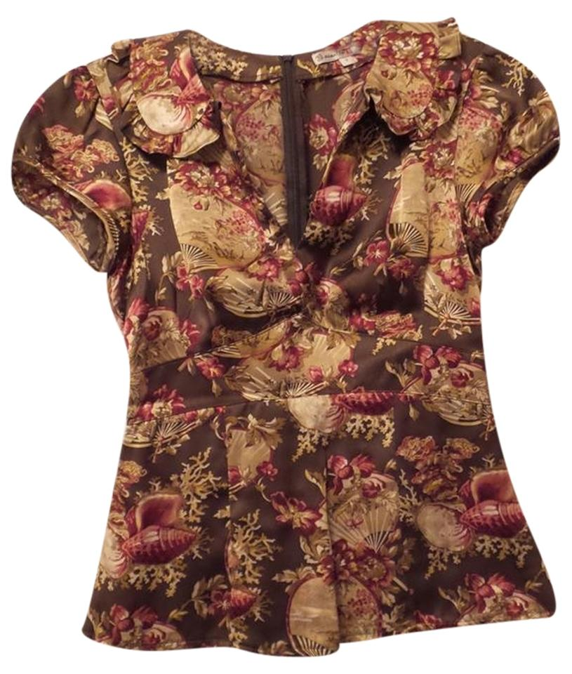 3734a6f930bae Nanette Lepore Silk Asian Princess Seams Anthropologie Vintage Style Top  Brown, Tan, Red, ...