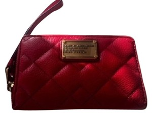 Marc by Marc Jacobs Wallet Iphone 6 Quilted Leather Grained Leather Gold Hardware Accessory Wristlet in Red