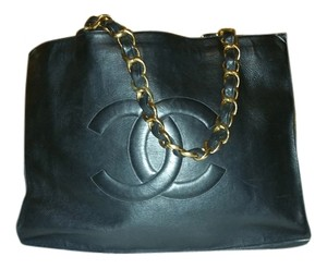 Chanel Black Large Tote Shopping Cc Logo Leather Shoulder Bag