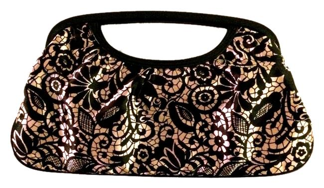 Item - Angled Cut-out Floral Print Beige & Black Satin Fabric with Leather Trim Clutch