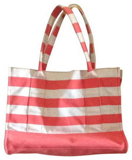 J.Crew Nautical Striped Tote Coral And White Beach Bag